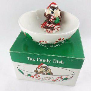 vintage 1997 Taz christmas nut / candy bowl dish